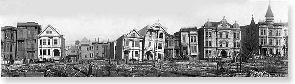 Row of damaged houses along South Van Ness Ave., between 17th and 18th streets.