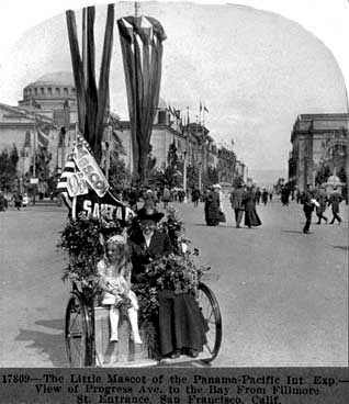 Mascot of the 1915 Fair seen on the Avenue of Progress