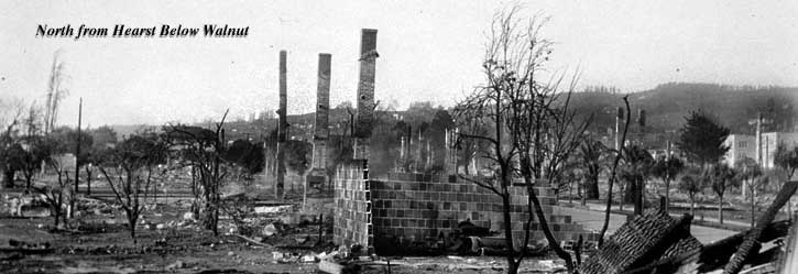 Ruins from the 1923 Berkeley fire looking north from Hearst below Walnut