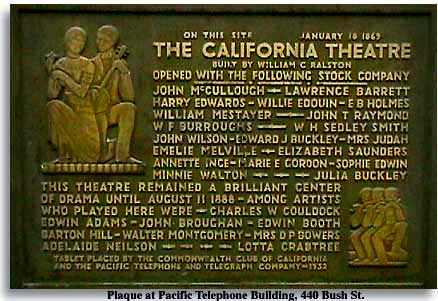 California Theatre plaque at 440 Bush St. to commemorate the founding of the theatre.