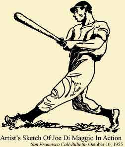 1955 drawing of Joe Di Maggio hitting baseball.