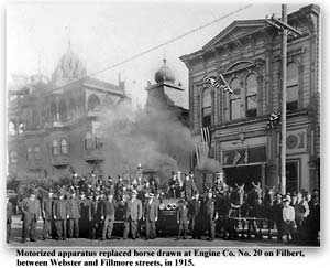 Photo of Fire Station 20 in San Francisco on the day in 1915 when motorized apparatus replaced the horses.