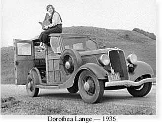 Photograph of Dorothea Lange at work