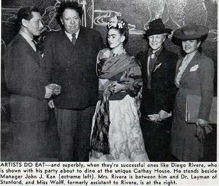Diego Rivera and Frida Kahlo with Johnny Kan at Cathay House restaurant, 718 California Street, in early 1941