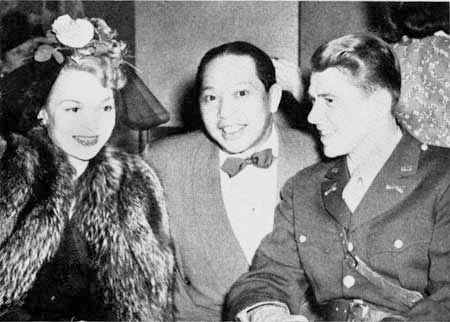 Charlie Low of Forbidden City is flanked by Ronald Reagan and Jane Wyman in a 1942 photograph