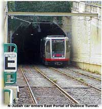 N-Judah car enters East Portal of Duboce Tunnel