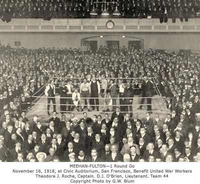 Photograph of Police Department benefit fight at Civic Auditorium, 1918
