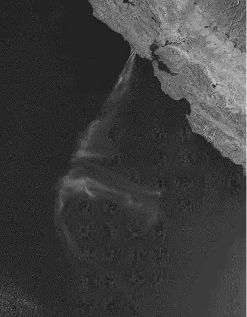 Satellite photo of smoke plume from the Pt. Reyes fire drifting out to sea